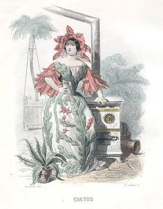 """""""Cactus"""" by J. J. Grandville from """"Les Fleurs Animées,""""Paris: Garnier Freres, [1867]. Prints illustrating flowers personified in the form of lovely maidens. Each 19th-century female figure is richly costumed in the leaves, blossoms and garlands that designate her flower. An example of early 19th-century Victorian fascination with an animated and psychologically fertile natural world, the world made familiar by Lewis Carroll's Alice in Wonderland."""
