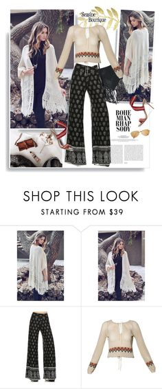 """""""Seaside-boutique.com: Bohemian Rhapsody"""" by hamaly ❤ liked on Polyvore featuring Free People, Aquazzura, women's clothing, women, female, woman, misses, juniors, ootd and bag"""