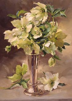 Ann Cotterill OIL Hellebores in Silver