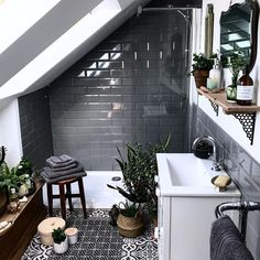 If you have a small bathroom in your home, don't be confuse to change to make it look larger. Not only small bathroom, but also the largest bathrooms have their problems and design flaws. House Design, Grey Subway Tiles, House, Dark Bathrooms, Bathroom Interior Design, Attic Bathroom, House Interior, Loft Bathroom, Bathroom Decor