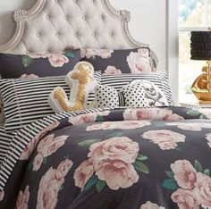 Cute Guest Room: The Emily + Meritt Bed Of Roses Duvet Cover & Sham From PB Teen (Although not a fan of the scull pillow)