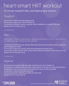 anytimehealt - Heart-Smart HIIT Workout - 35 minutes treadmill, bike, and elliptical gym workout