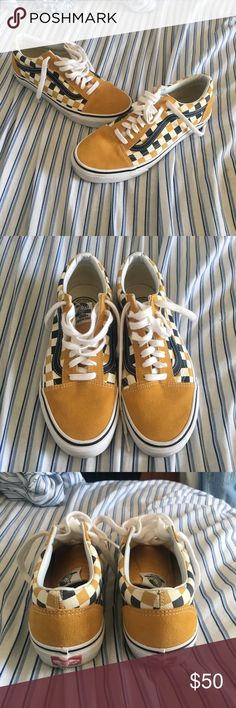 vans US open of surfing shoes super cute vans us open of surfing 2017 shoes. cute mustard color with a mustard, black, and creme checkerboard design. old skool type of shoe. i believe these were a limited time offer because they are no longer available on the vans website. men's size 8 women's size 9.5. worn once Vans Shoes Sneakers