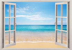 """Wide Angle Life Ocean Beach Sea Scape View Home Office Kitchen Kids Nursery Room Gift 3D Unique Window Depth Style Vinyl Print Removable Wall Sticker Decal Mural Size 24"""" x 34"""" by Bomba-Deal Bomba-Deal http://www.amazon.com/dp/B00MH4405I/ref=cm_sw_r_pi_dp_l2Iuub0GDGZ2F"""