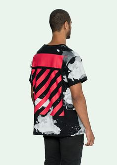 Liquid spots T-shirt with red brushed diagonals
