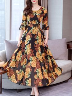 Round Neck Floral Printed Bell Sleeve Maxi Dress , Buy Affordable And Fashionable Women's clothing Online. Buy Shoes, Bags, Dresses Etc. Elegant Maxi Dress, Chiffon Maxi Dress, Maxi Dress With Sleeves, Floral Maxi Dress, Floral Chiffon, Dress Casual, Floral Print Dresses, Floral Outfits, Chiffon Saree