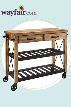 Features:  -Material: Solid hardwood and wood veneers.  -Heavy duty industrial style metal casters.  -Powder coated steel fixed shelves.  -Drawers mounted on ball bearing glides.  -Slotted shelves per