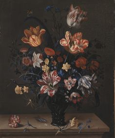 Helena Roouers (Dutch, 17th century): Tulips and Other Flowers in a Rummer (1663) (via National Gallery of Denmark)