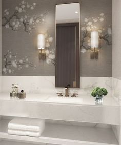Powder room goals from our multi unit project unveiling later this year Small Toilet Room, Guest Toilet, Bad Inspiration, Bathroom Inspiration, Modern Bathroom Design, Bathroom Interior Design, Cloakroom Toilet Downstairs Loo, Washroom, Wallpaper Toilet
