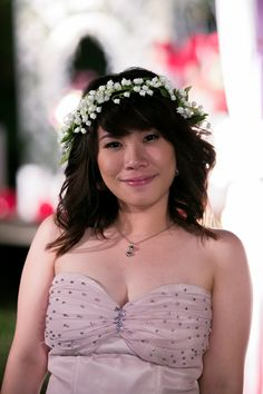 lily of the valley flower crown flower wrath medium hair style for wedding maid of honour