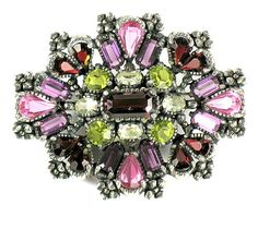 Hollycraft 1954 Shades of Rose, Amethyst, Garnet, Olivine, and Jonquil Faceted Glass Stones Brooch