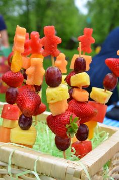 Teddy Bear fruit kebabs- My version: just cut the watermelon with teddy bear cookie cutter and put it on a popsicle stick!