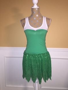 Tinker Bell Inspired Running/Athletic Skirt and Tank top ( WINGS NOT INCLUDED). Skirts are made to order and will require your exact