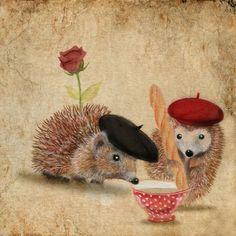 Cute Hedgehogs By Anne Boux Hedgehog Art, Baby Hedgehog, Hedgehog Illustration, Illustration Photo, Art Carte, Oui Oui, Jolie Photo, Beatrix Potter, Illustrators