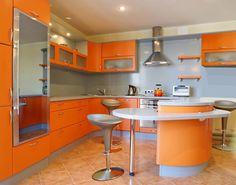 Impressive Inspiration For Luxurious Orange Kitchen Decorating Ideas Blue Backsplash Feat Ceramics Floor Tile Cool Bar Table Plus Grey Stools Stunning Orange Kitchen