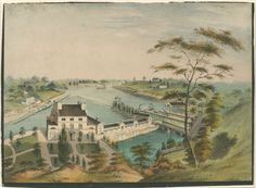 A View of the Fairmount Waterworks with Schuylkill in the Distance, c. 1838.  Crayon lithograph
