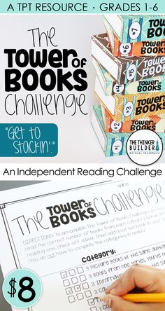 Replace the hum-drum reading log with The Tower of Books Challenge: a fun and engaging independent reading challenge! Encourages a wide range of reading and in Reading Strategies, Reading Activities, Teaching Reading, Reading Comprehension, Learning, Guided Reading, Teaching Ideas, Reading Homework, Reading Response