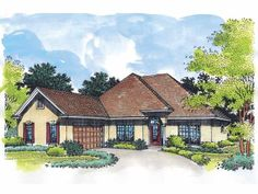 Mediterranean House Plan with 2000 Square Feet and 3 Bedrooms from Dream Home Source | House Plan Code DHSW27213