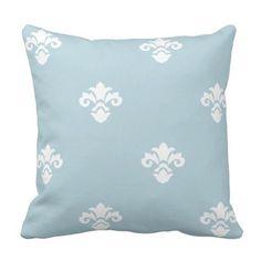 Modern and Trendy Light Blue Damask Pattern Throw