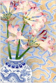 Belladonnas in a dragon vase Watercolour and pencil on paper by Gabby Malpas