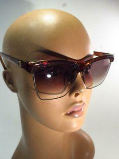 460f5e8263b Vintage Laura Biagiotti Faux Tortoise Half Frame Oversized Sunglasses -  Italy    LAURABIAGIOTTI  Oversized