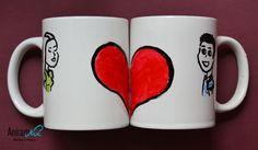 "Taza mug ""pareja corazón"" pintada a mano Aniramnoc"