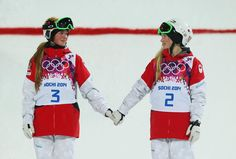 Canadian sisters Justine and Chloe Dufour-Lapointe topped the podium in Ladies' Moguls. - Justine took home gold while Chloe nabbed silver. A third sister, Maxime, finished Ski Freestyle, Le Double, Justine, Winter Games, Summer Olympics, Team Usa, Olympians, Olympic Games, Olympic Medals