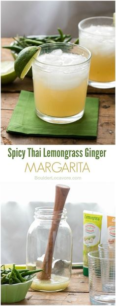 Spicy Thai Lemongrass Ginger Margarita. Bright, exotic, mouthwatering flavors you'll love! - BoulderLocavore.com sponsored by @gourmetgarden
