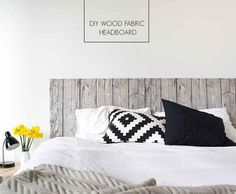 Cover a sheet of MDF board with affordable fabric for a homemade headboard: