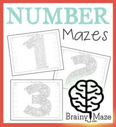 Free Number Mazes for Kids! Number mazes for numbers 1-10, children can solve the mazes and practice key handwriting skills. Great for…