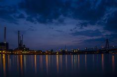 ღღ Blaue Stunde in Linz/Austria (Blue Night) by Leo Pöcksteiner  Vom Wetter ein schöner Abend im Juli an der Donau in Linz (Österreich ) gingen die Lichter an und bei der Donau Gelse über Gelsen !!!!!!