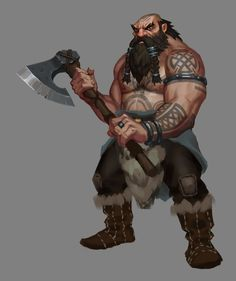 m Dwarf Barbarian Battle Axe by Embermark Fantasy Dwarf, Fantasy Male, Fantasy Warrior, Medieval Fantasy, Fantasy Rpg, Character Creation, Game Character, Character Concept, Character Design