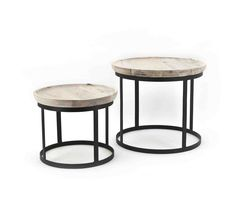 Round coffee tables made of black metal with a clear mango wood table top. The tables are compact and not too heavy making it easy to move. Can also be used as 2 separate side tables! Living Room Interior, Living Room Furniture, Sofa Tables, Round Coffee Table, Wood And Metal, Wood Table, Furniture Decor, Interior Inspiration, Architecture