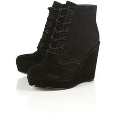 ANDRE Wedge Lace Up Boot ($136) ❤ liked on Polyvore.. ALL you missing now is pair of skinny jeans!!Let's Go!!