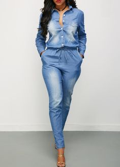 Turndown Collar Drawstring Waist Button Up Denim Jumpsuit on sale only US$39.16 now, buy cheap Turndown Collar Drawstring Waist Button Up Denim Jumpsuit at liligal.com