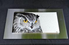 Great Horned Owl Fused Glass Wall Hanging Art by Krenzin11