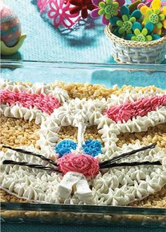 Hippity Hoppity Treats – You and your kids can surprise the Easter bunny with this full-pan, frosted portrait of the happy, hoppy one himself.