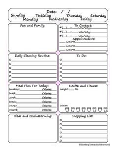 Cool daily planner undated so you can use it for however long you want.  1 page!