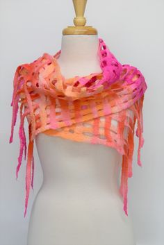Wool Felt Scarf Wrap wool scarf womens scarf soft warm shawl hand dyed hand made Australian Merino Wool Pink Oranges 12256