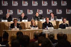 Actors Bruce Dern, Tim Roth, Demian Bichir, Michael Madsen, (Bottom L-R) Kurt Russell, Jennifer Jason Leigh, director Quentin Tarantino and Walton Goggins attend the press conference for THE HATEFUL EIGHT at Waldorf Astoria Hotel on December 14, 2015 in New York City.