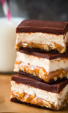 Snickers Brownies Recipe- wow, this look really labor intensive, but I might have to try for a party!!