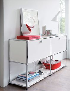 USM Haller Open Storage Credenza - Design Within Reach Modular Furniture, Modern Furniture, Furniture Design, Furniture Decor, Mid-century Modern, Bedside Table Design, Small Space Solutions, Steel Panels, Design Within Reach