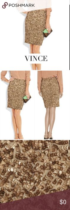042a49bccd VINCE GOLD SEQUINED PENCIL SKIRT VINCE GOLD SEQUINED PENCIL SKIRT.  Light-reflecting gold sequins