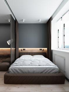 3 Luxury Apartments With Open Plan Bedroom Ideas - Schlafzimmer - Men's Bedroom Design, Home Decor Bedroom, Bedroom Furniture, Men Bedroom, Master Bedroom, Master Suite, Bedroom Rustic, Bedroom Black, Bedroom Green