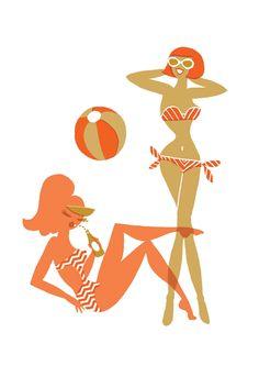 (via Neryl Walker: Pin Up and Cartoon Girls) Beach Illustration, Graphic Design Illustration, Illustrations Posters, Fashion Illustrations, Vintage Illustrations, Summer Beauty, Beach Art, Girl Cartoon, Art Girl
