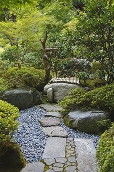 A careful balance between the natural and the engineered characterizes Japanese gardens. This path exemplifies that balance. Note the mix of squared stones and rough stones, patterns and no patterns, alternate textures--it's all very careful and deliberate. #japanesegardens #japanesegardening