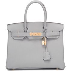 Pre-Owned Hermes Gris Mouette Togo Birkin 30cm Gold Hardware (€18.520) ❤ liked on Polyvore featuring bags, handbags, purses, bolsas, bolsos, grey, man bag, genuine leather handbags, gray purse and grey leather handbags