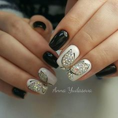 # Nails Black & White W/ Pearl Butterflies