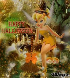 Happy Halloween - Tinkerbell Tinkerbell Pictures, Tinkerbell 3, Tinkerbell And Friends, Disney Fairies, Happy Halloween Gif, Halloween Images, Halloween Projects, Halloween Sayings, Disney Christmas