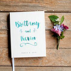 Wedding Guest Book Wedding Guestbook Custom Guest Book Personalized Customized custom design wedding gift keepsake watercolor blue aqua